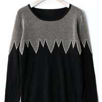 Zig Zag Metallic Black Jumper - New Arrivals - Retro, Indie and Unique Fashion