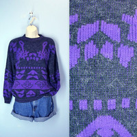 Vintage Slouchy Sweater / 1980s Heathered Purple Sweater