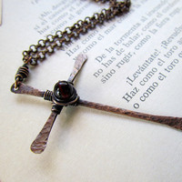 Hammered Copper Cross Pendant, garnet Czech glass, rustic, boho, hand forged, oxidized