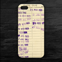 Due Date Library Book Phone Case iPhone 4/4S/5/5S/5C  Samsung S3/S4