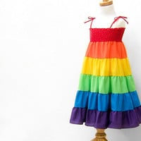Rainbow Dress, Rainbow Twirl Dress, Rainbow Sundress, Summer Children Clothing, Baby, Toddler, GIrls, 12-18 mo, size 1T 2T 3T 4 5 6 7 8