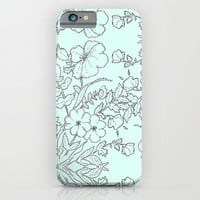 Dotted Floral Scroll in Mint and Grey iPhone & iPod Case by Jacqueline Maldonado