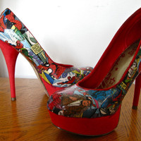 Custom Comic Book Heels- choose your own superhero/villain