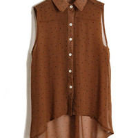 Dots Printed Dark Coffee Chiffon Shirt [NCSHM0219] - $21.99 :