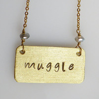 Harry Potter Jewelry-Muggle Hand stamped personalized necklace 16K Gold Plated by Arang on Etsy