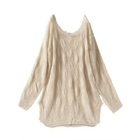 Hollow Crochet Design Long Sleeve Women Beige Free Size Knitting Sweater @JYF7113be