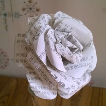 "One Large Chinese lettering rose Asian language book 8"" long stem rose Black white 4 inch garden rose tea rose bloom Free shipping in USA"