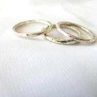 Hammered stacking rings fine silver set of three