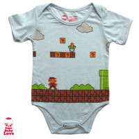 baby super mario Onesuit by SugarBabyLove on Etsy