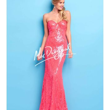 Mac Duggal Flash Stunning Neon Coral Sequin Gown Prom 2015
