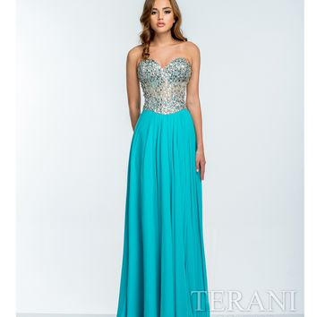 Terani Aqua & Nude Crystal Embellished Strapless Gown Prom 2015