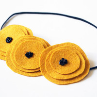 Mustard Yellow Poppy Wool Felt Garland Headband /Baby/Toddler/Teen/Adult