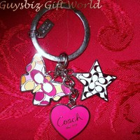 *Authentic Coach Butterfly Star Heart Keychain Fob92721