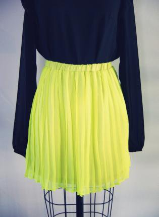 Acid Yellow Pleated Silk Skirt With Elastic Waist