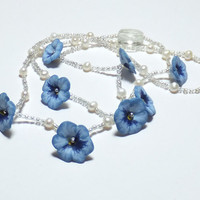 Blue Pansy, Freshwater Pearl and Sterling Silver Necklace