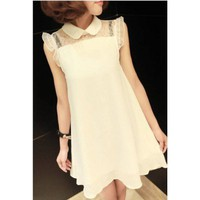 White Chiffon with Lace Shoulder Peter Pan Collar Dress@XYZ9641w