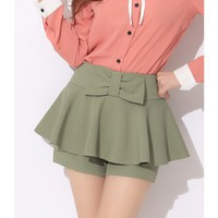 Women Polyester Bow High Waist Pleated Green Short Pant S/M@MF5046gr