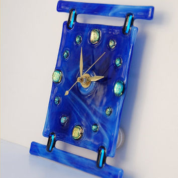 blue wall clock fused glass with from caroline4art on