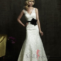 A-line V-neck Chapel Train Satin Wedding Dress with Flower at Msdressy