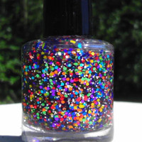 Rainbow Star Sprinkles Hand made custom nail polish