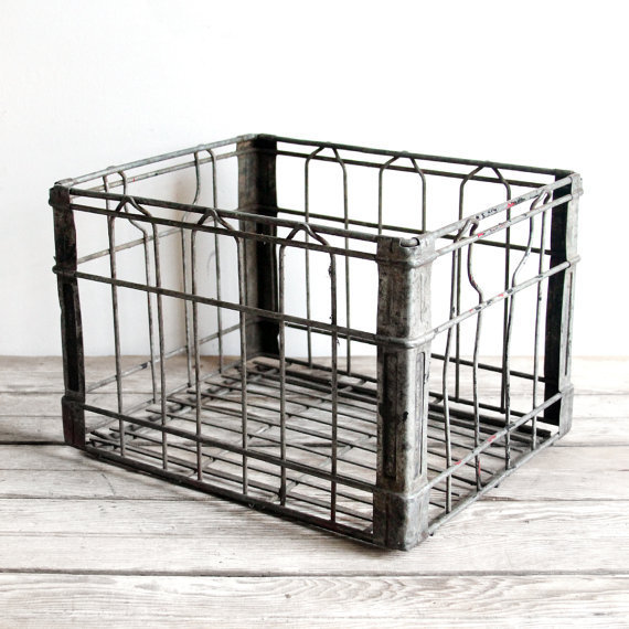 Vintage metal wire milk crate by from lacklusterco on etsy for What to do with milk crates