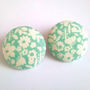 Large pastel mint floral button earrings
