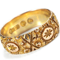 Ornate Victorian Wedding Band - The Three Graces