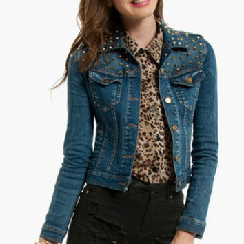 Shana Studded Denim Jacket $82