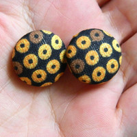 Button Earrings Black- Orange- Brown Circles Retro Autumn Fall