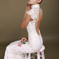 Trumpet/Mermaid High Neck Lace Floor-length White Backless Wedding Dress at Msdressy