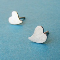 Heart earrings , Heart post earrings ,Heart stud earrings , Sterling silver heart earrings.