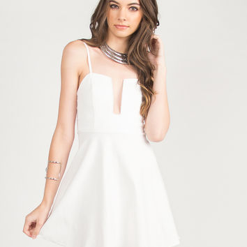 Fit and Flare Wire Dress - White - White /