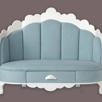 Blue suede Cloud shaped children's sofa  w drawer