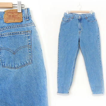 Vintage 80s 90s High Waist Levi's 512 Slim Tapered Leg Jeans - Size 14 LONG - Women's Stone Washed Slim Fit Faded Blue Denim Jeans