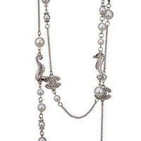 Chanel Replica Pearl, CC Logo &amp; Seahorse Charm Silver Fine Chain Necklace