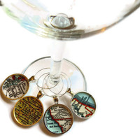 Twilight Map Wine Charms, Twilight charm set, Forks, Volterra, Seattle, Jacksonville, Set of Four map charms