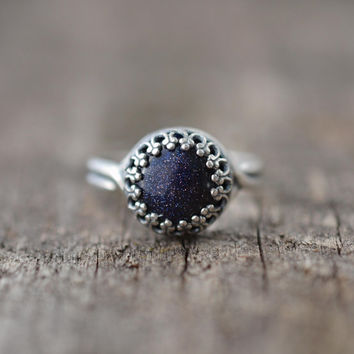 Goldstone Ring, Sterling Silver Goldstone Galaxy Ring, Boho Ring, Gypsy Jewelry
