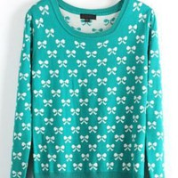 Green Long Sleeve Bow Print Pullovers Sweater - Sheinside.com