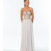 Terani Ivory & Nude Strapless Sweetheart Gown Prom 2015