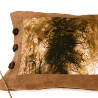 Brown pillow case unique rustic home decor