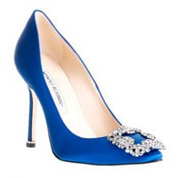 MANOLO BLAHNIK  Hangisi satin pump blue