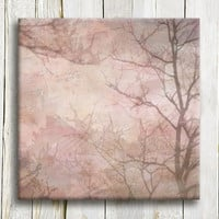 "Abstract art on canvas, pink shades of a misty forest, framed art, 12""/12"""