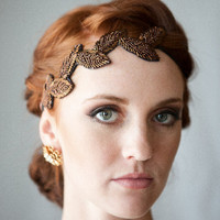 Bronze Emma beaded leaf headband
