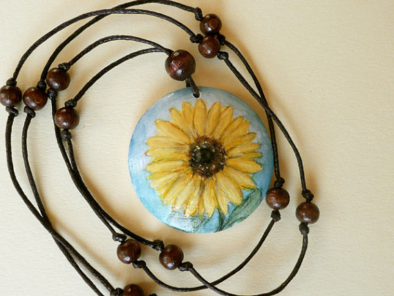 Beaded Sunflower Necklace, Hand Painted Bead Flower Pendant, Wood Jewelry, Miniature Painting, Eco friendly