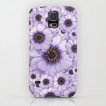 Samsung Galaxy S5/Galaxy S4 Slim Case - Pink Flower Samsung Galaxy S5/S4 Phone Cover - Daisies - Lila Floral Design Case
