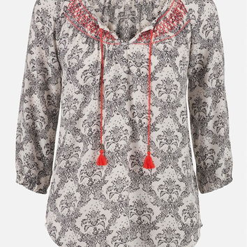 Patterned Peasant Top With Embroidery - Black