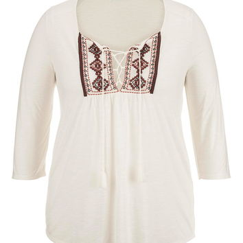 Plus Size - Embroidered Front Peasant Top With Ties - Beige