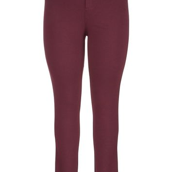 Plus Size - The Skinny Knit Pant In With Faux Leather Trim - Mulberry