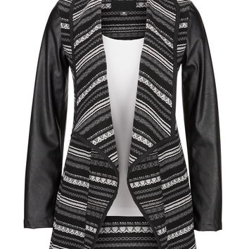 Blanket-Style Jacket With Faux Leather Sleeves - Black