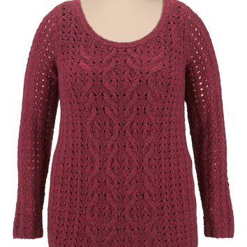 Plus Size - Long Sleeve Cable Front Sweater - Red
